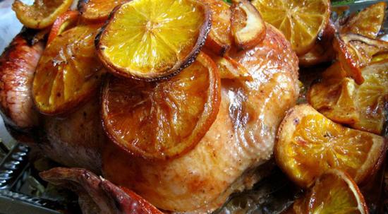 Запеченная курица с апельсинами