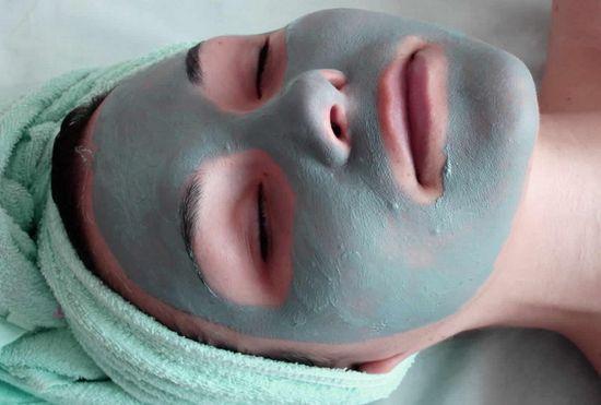 Голубая глина маска